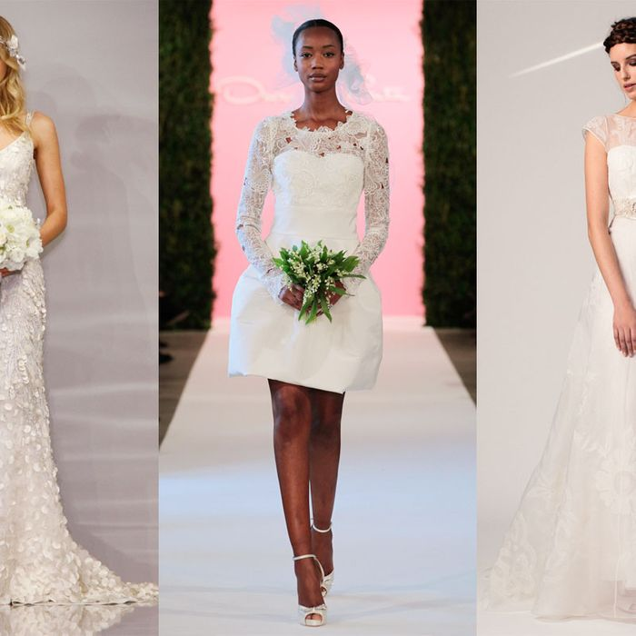 54c65fee6 Wedding aisles are looking pretty casual for spring 2015. Oscar de la Renta  sent barefoot models down the runway, Houghton's collection included a  sequined ...