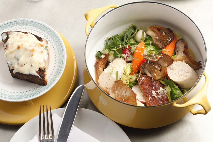 Plymouth Rock pot-au-feu with chicken-skin schmaltz toast.