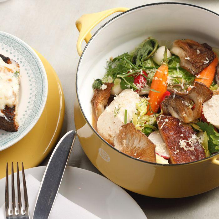 Plymouth Rock pot-au-feu with chicken-skin schmaltz toast.