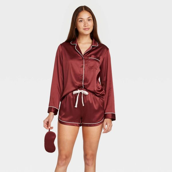 Stars Above Women's Satin Long Sleeve Notch Collar Top and Shorts Pajama Set with Eye Cover