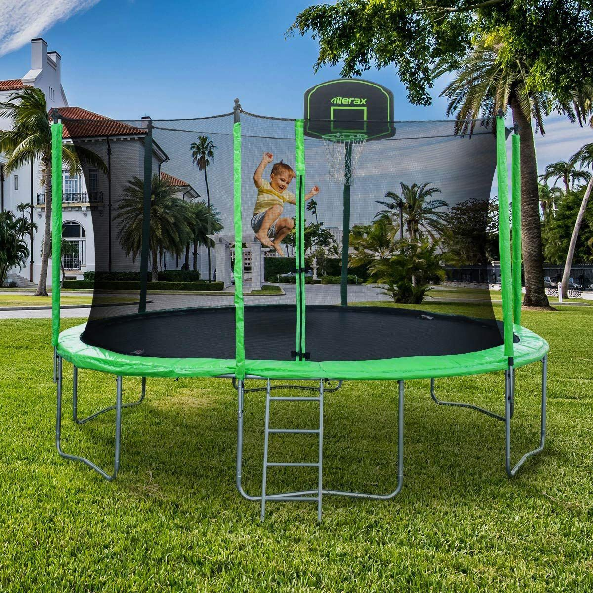 Merax 12-Feet Round Trampoline With Safety Enclosure, Basketball Hoop, and Ladder