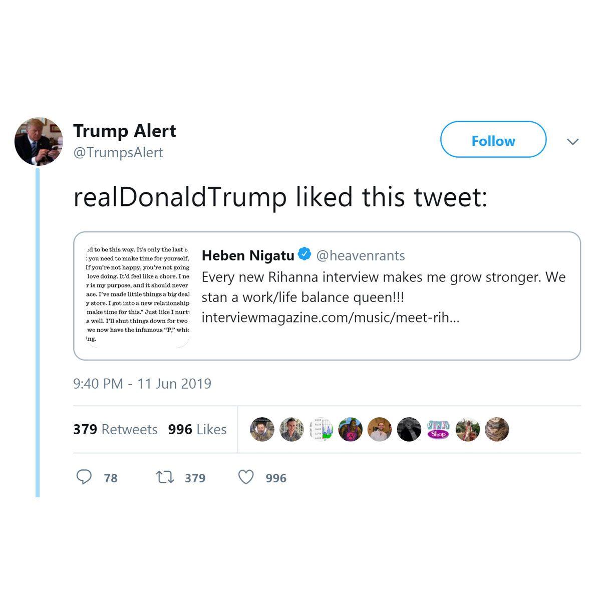 Donald Trump Faves Tweet About Rihanna