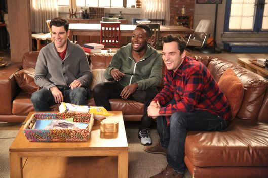"NEW GIRL: L-R: Max Greenfield, Lamorne Morris and Jake Johnson in the ""Goosebumps Walkaway"" episode of NEW GIRL airing Tuesday, March 8 (8:00-8:30 PM ET/PT) on FOX. ©2016 Fox Broadcasting Co. Cr: Adam Taylor/FOX"