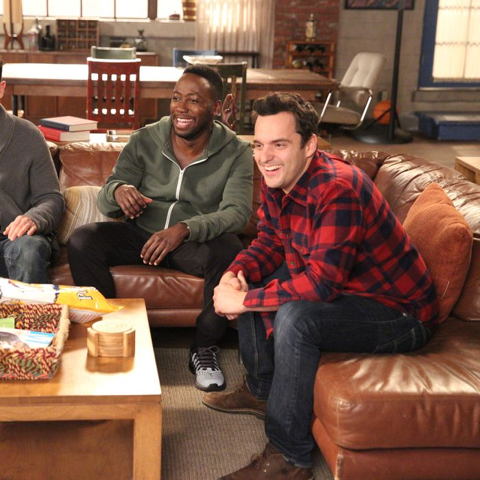 NEW GIRL: L-R: Max Greenfield, Lamorne Morris and Jake Johnson in the