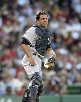 BOSTON - APRIL 21: Catcher Wil Nieves #26 of the New York Yankees looks to the field against the Boston Red Sox at Fenway Park April 21, 2007 in Boston, Massachusetts. (Photo by Elsa/Getty Images)