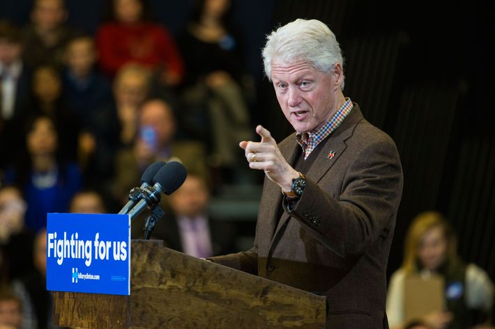 Bill Clinton Campaigns for Hillary Clinton in New Hampshire.