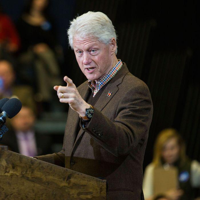 Bill Clinton Campaigns for Hillary Clinton in New Hampshire.
