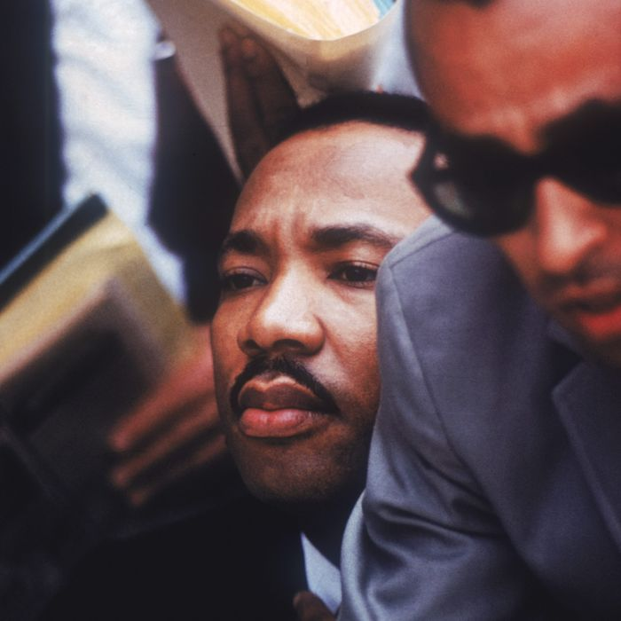 American clergyman and civil rights activist Martin Luther King Jr. in Chicago, 1966. To his left is Wyatt Tee Walker, executive director of SCLC (Southern Christian Leadership Conference)
