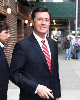 Stephen Colbert arrives at 'The Late Show with David Letterman'.Stephen Colbert arrives at 'The Late Show with David Letterman'. <P> Pictured: Stephen Colbert <P> <B>Ref: SPL388163 030512 </B><BR/> Picture by: ???? Kyle Blair / Splash News<BR/> </P><P> <B>Splash News and Pictures</B><BR/> Los Angeles:	310-821-2666<BR/> New York:	212-619-2666<BR/> London:	870-934-2666<BR/> photodesk@splashnews.com<BR/> </P>