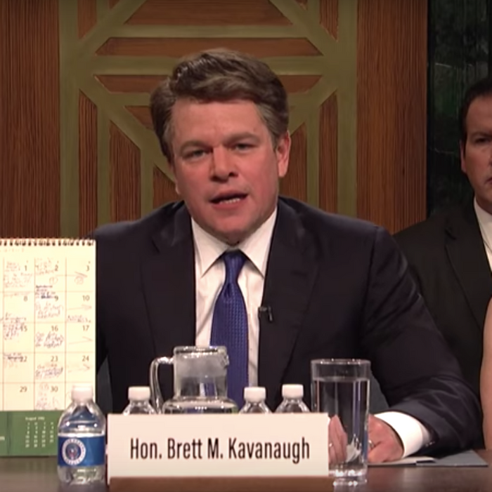 Matt Damon as Brett Kavanaugh on Saturday Night Live.