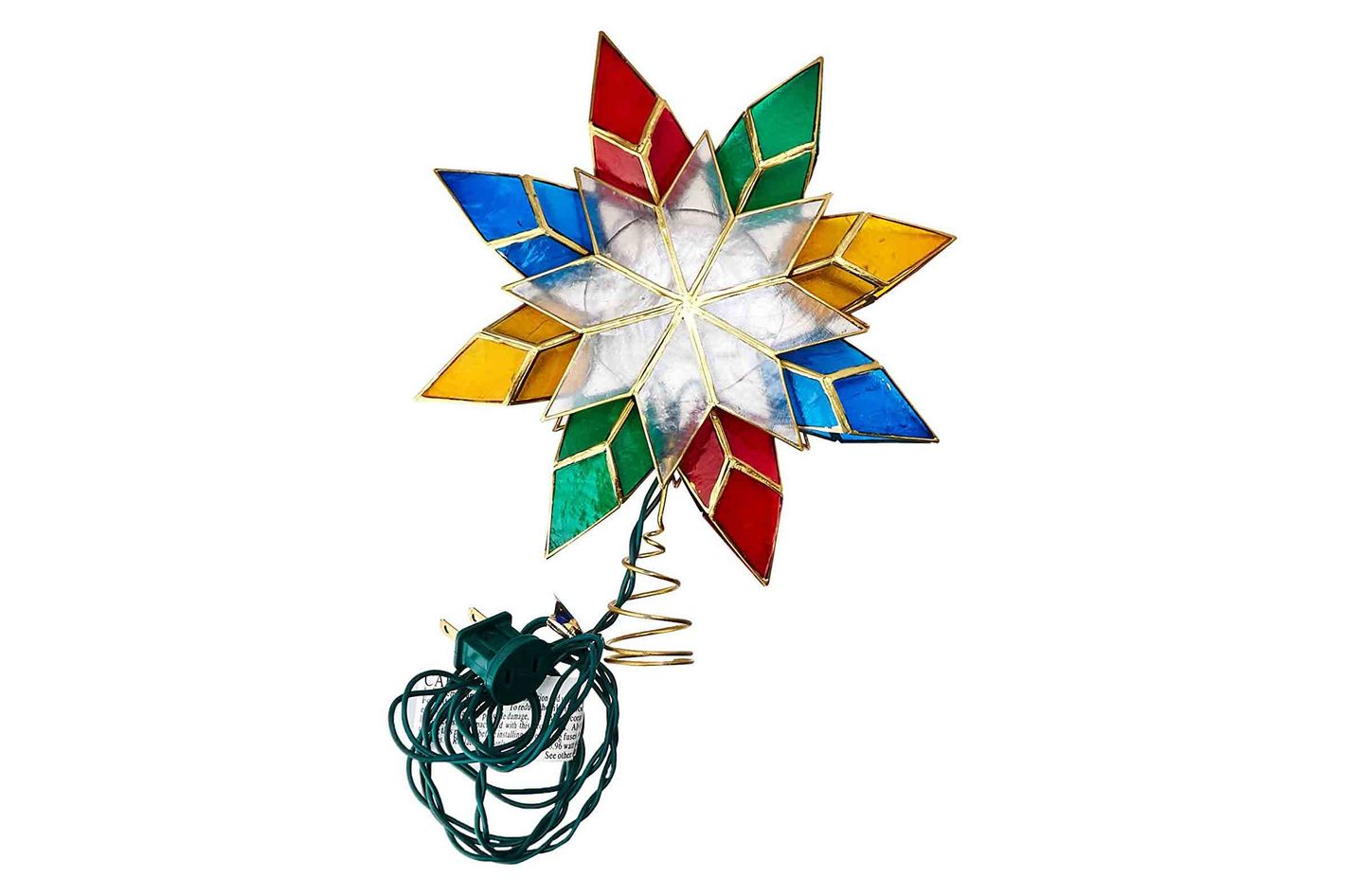 kurt adler 10 light multi color capiz star tree topper