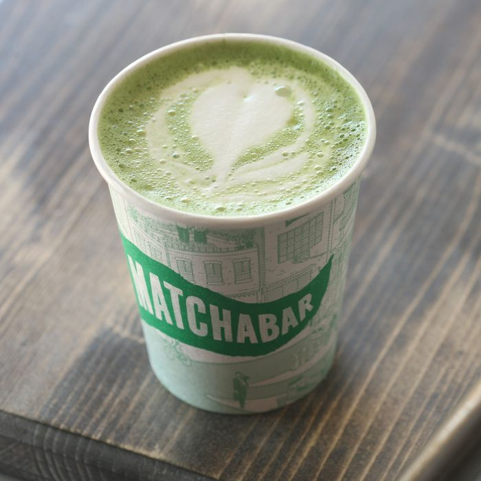 Here's the matcha latte, usually prepared with non-dairy milk.