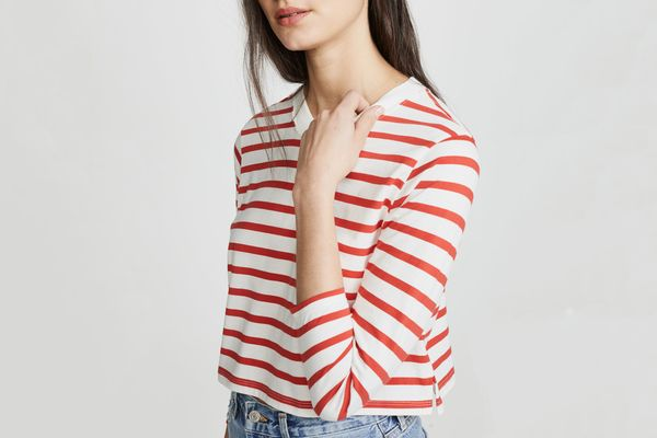 Hanes x Karla Long Sleeve Striped Crop Tee Off White/Red