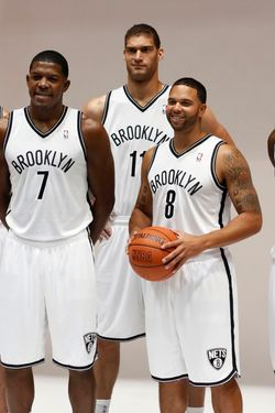 Brooklyn Nets Kris Humphries, Joe Johnson, Brook Lopez, Deron Williams, and Gerald Wallace, left to right, pose for photos during Brooklyn Nets basketball media day, in the Brooklyn borough of New York,  Monday, Oct. 1, 2012.