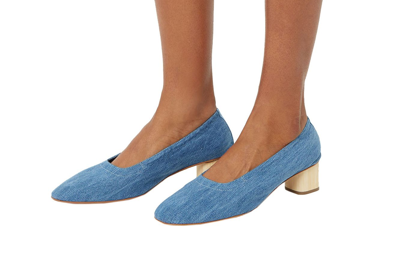 Robert Clergerie Denim Pixie Wooden Heels