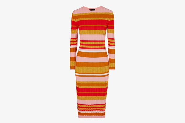 Stine Goya Jeanne Metallic Stripped Ribbed-Knit Midi Dress