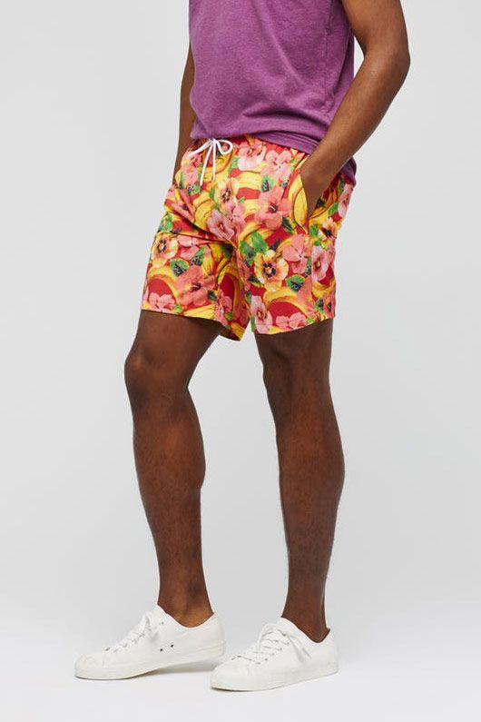 """Bonobos Banza E-Waist 7"""" Swim Trunks, Pink Tropical Bananas"""