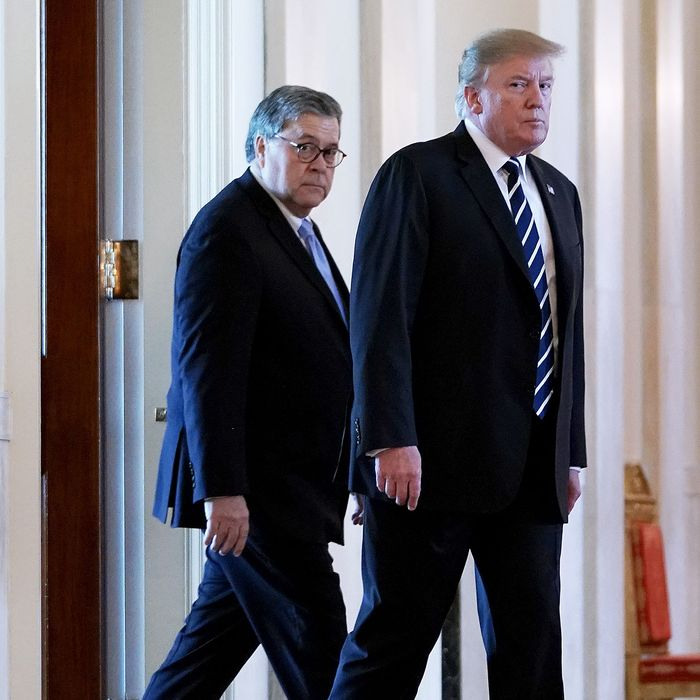 President Donald Trump (right) with Attorney General William Barr.