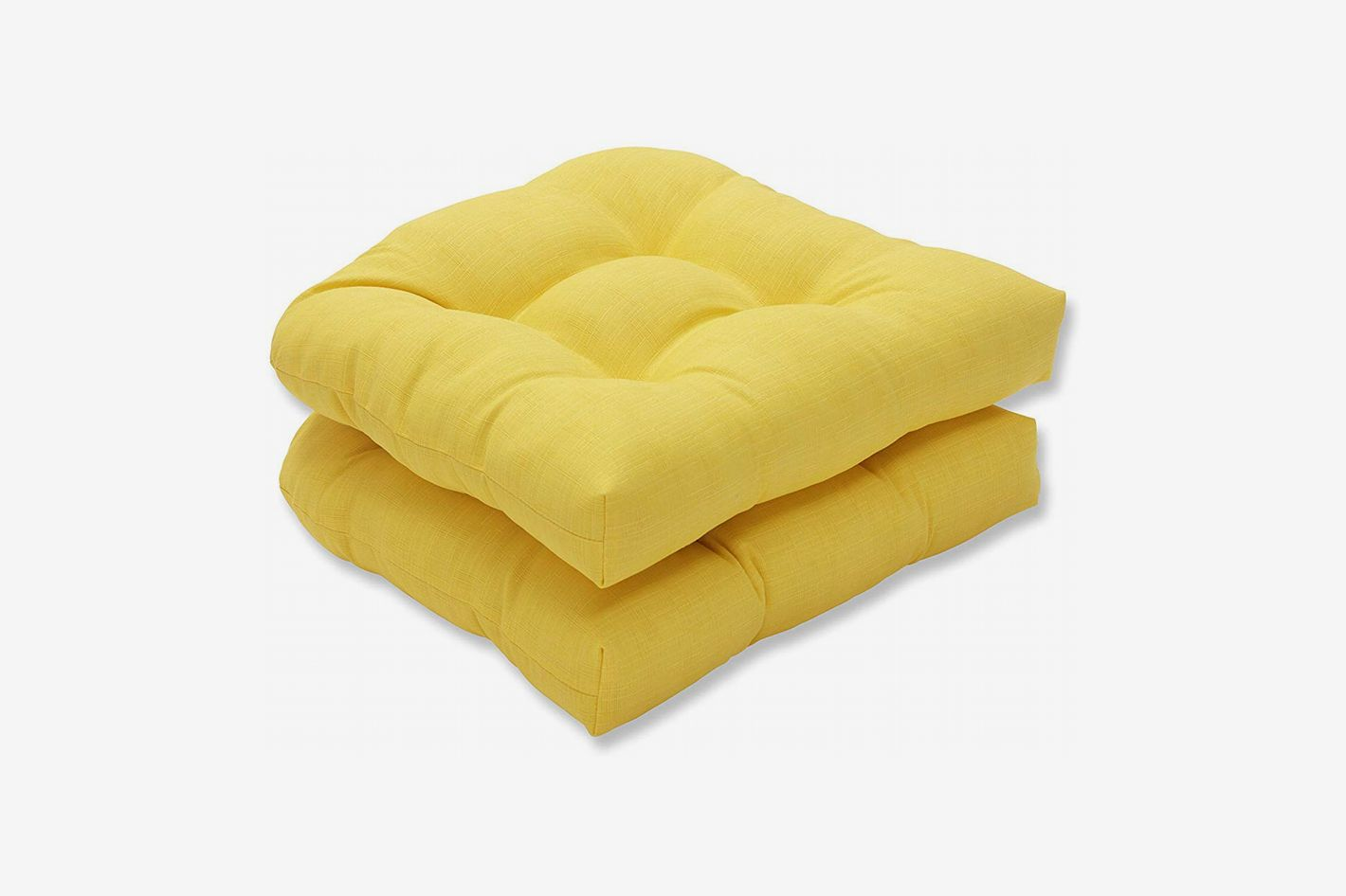 Pillow Perfect Outdoor Fresco Yellow Wicker Seat Cushion, Set of 2