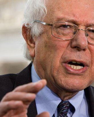 Sen. Bernie Sanders, I-Vt., speaks to the media about his agenda in running for president, Thursday, April 30, 2015, on Capitol Hill in Washington. (AP Photo/Jacquelyn Martin)