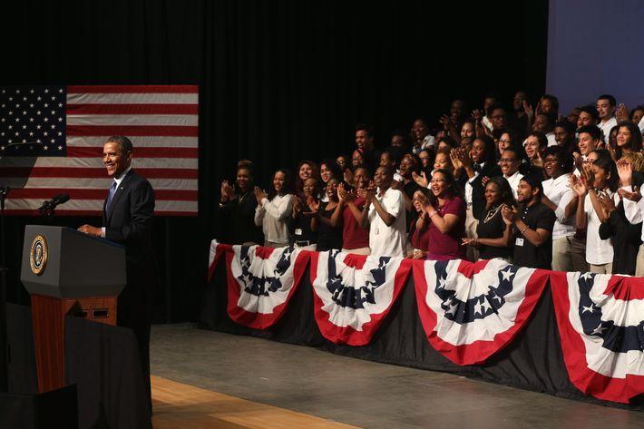 U.S. President Barack Obama speaks during a visit to Bladensburg High School April 7, 2014 in Bladensburg, Maryland.
