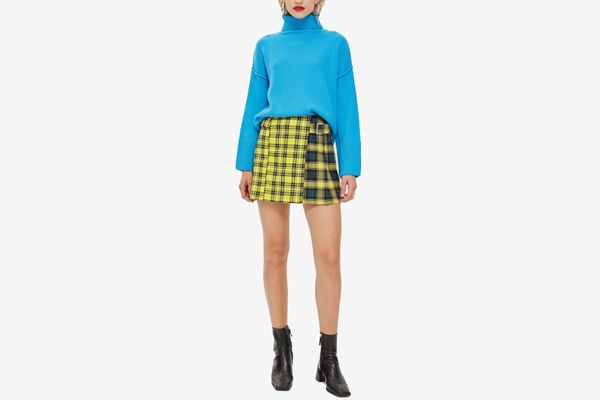 Mixed Check Buckle Kilt Mini Skirt