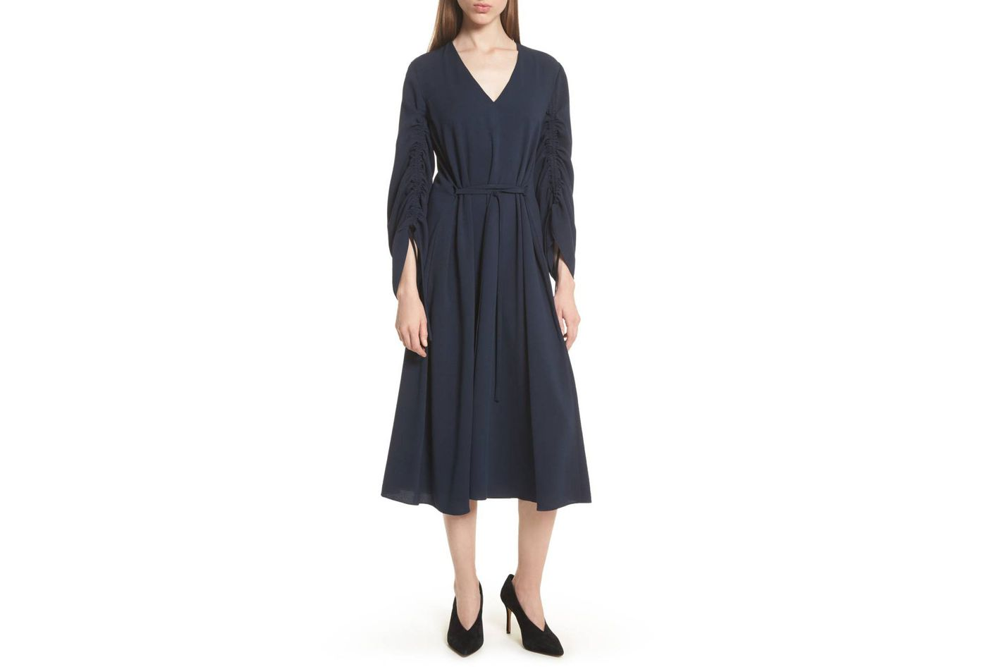 Tibi Convertible Sleeve Midi Dress