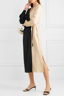 Art Dealer Ruched Two-tone Wrap Dress