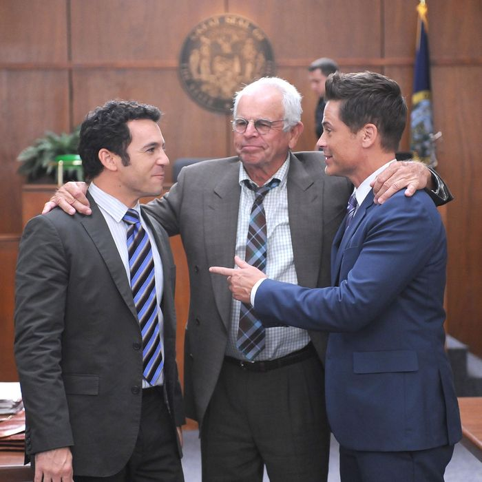 THE GRINDER: L-R: Fred Savage, William Devane and Rob Lowe in the