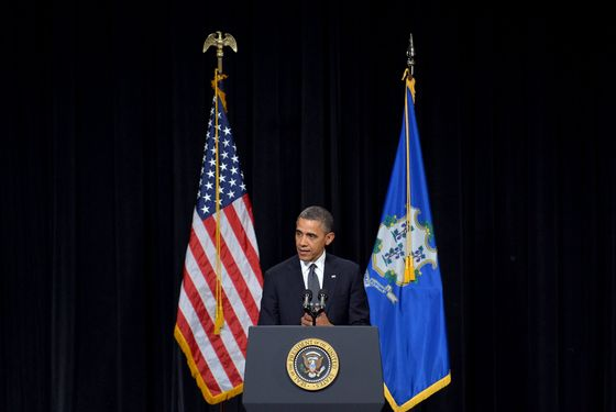 US President Barack Obama speaks at a memorial service for the victims of the Sandy Hook Elementary School shooting on December 16, 2012 in Newtown, Connecticut. Obama will address the memorial for the twenty-six people, 20 of them children, who were killed when a gunman entered Sandy Hook Elementary and began a shooting spree.