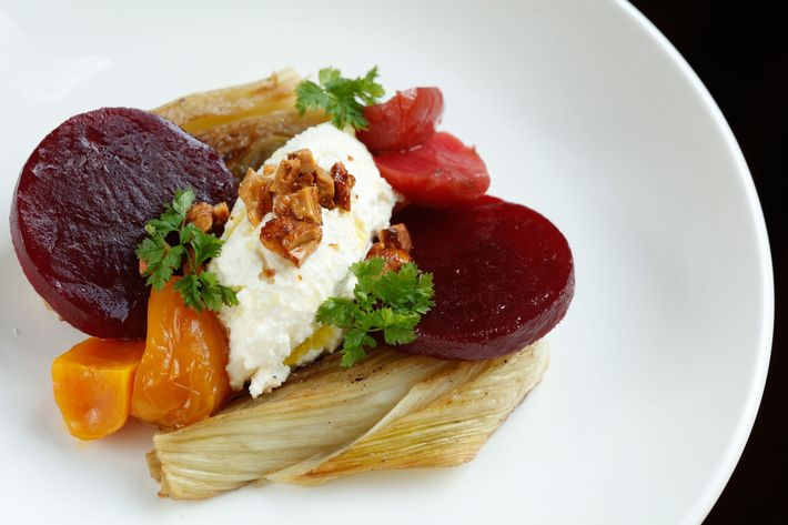 Pickled beets and roasted fennel: Salvatore Bklyn smoky ricotta and maple-cayenne cashews.