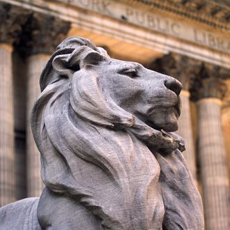 Lion Statue and New York Public Library.