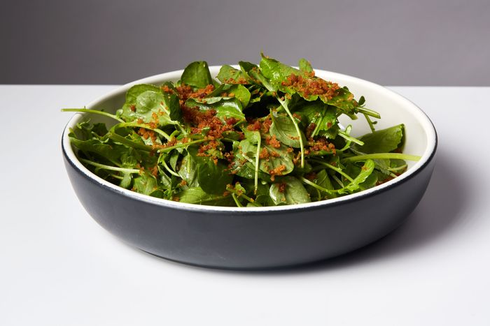 Peppery greens with pancetta and lemon.