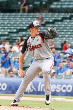 August 13 2011: Star prep pitcher Ty Hensley starts for the American squad at the 2011 Under Armour All-America Baseball Game, held at Wrigley Field, Chicago, Illinois. (Cal Sports Media via AP Images)