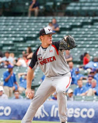 Star prep pitcher Ty Hensley starts for the American squad at the 2011 Under Armour All-America Baseball Game, held at Wrigley Field, Chicago, Illinois.