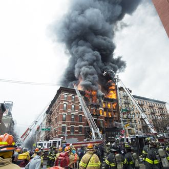 Building at 121 Second Avenue in East Village, near Seventh Street collapsed after it was rocked by a blast and a fierce fire that sent black smoke into the sky.(Photo By: Joe Marino/NY Daily News via Getty Images)