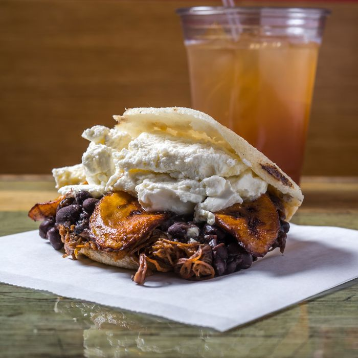 Pabellon arepa, with shredded beef, black beans, sweet plantains, and guayanés cheese.