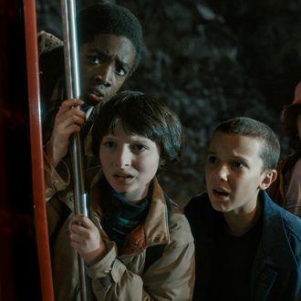 Caleb McLaughlin as Lucas, Finn Wolfhard as Mike, Millie Bobby Brown as Elle, Gaten Matarazzo as Dustin.