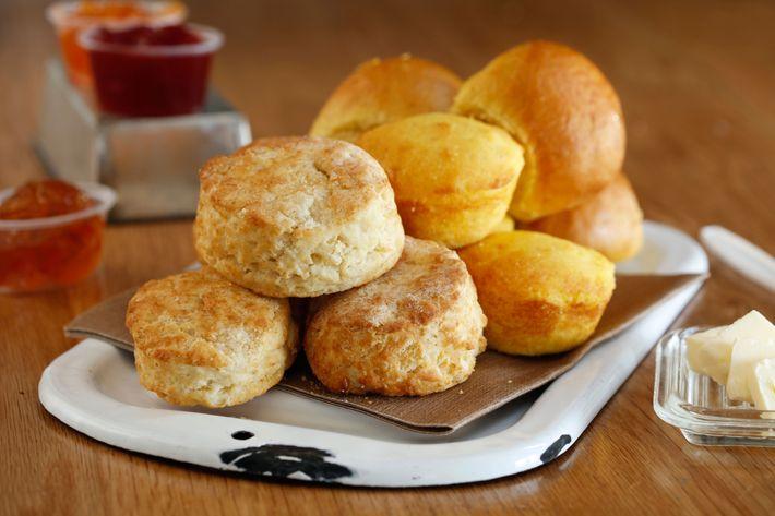 Buttermilk biscuits and cornbread.