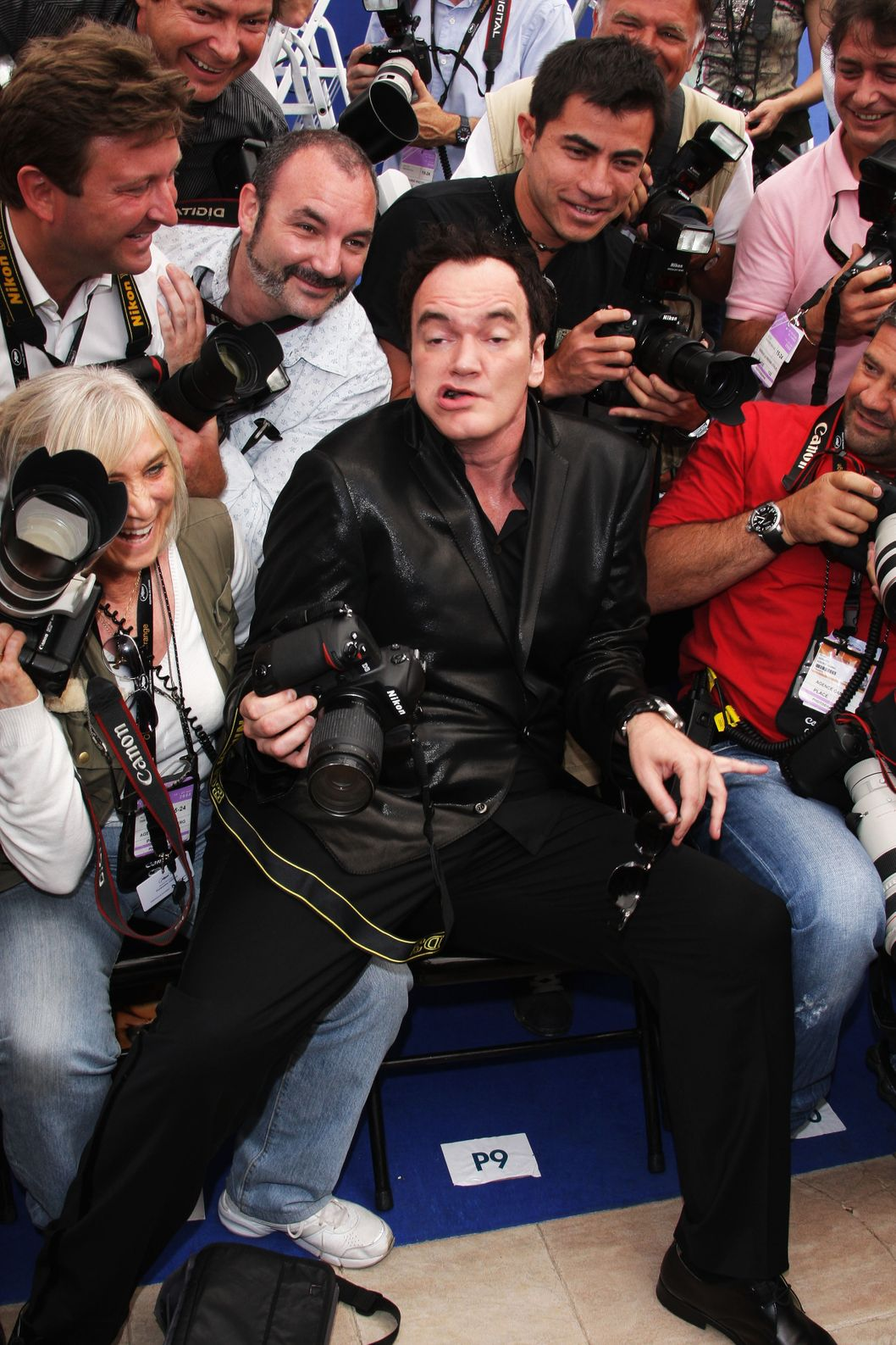 CANNES, FRANCE - MAY 22:  Quentin Tarantino sits with the photographers as he attends the Lecon De Cinema Photocall at the Palais des Festivals during the 61st International Cannes Film Festival on May 22, 2008 in Cannes, France.  (Photo by Francois Durand/Getty Images)