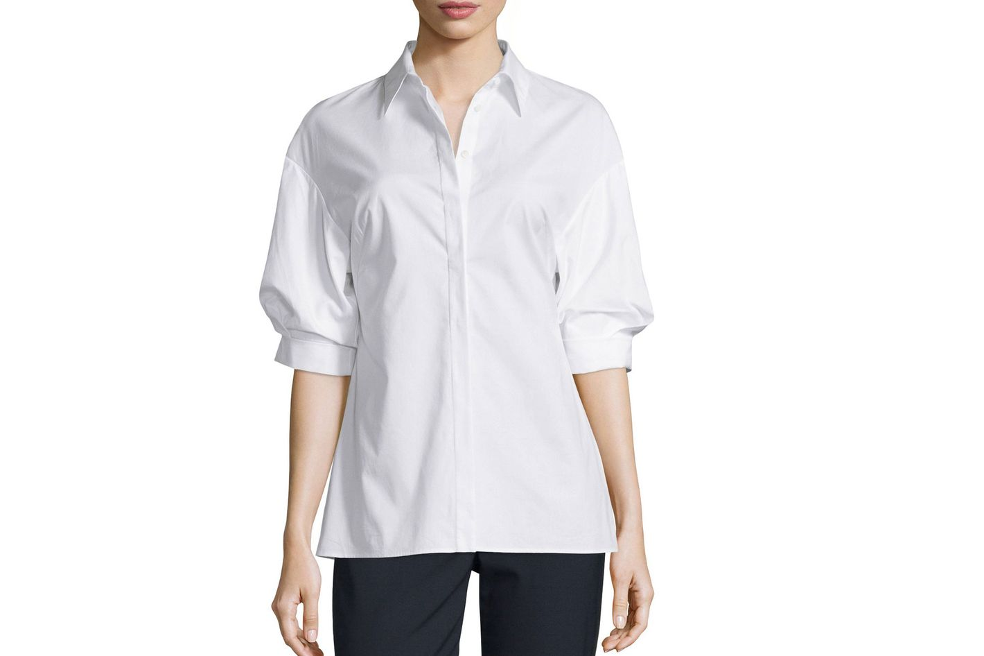 3.1 Phillip Lim Poplin Puffed-Sleeve Top