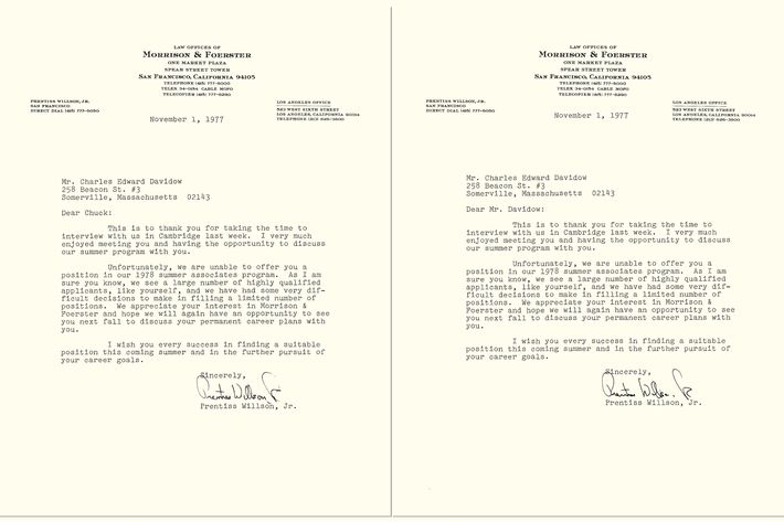 Read a rejection letter reply so brilliant it got him hired two rejection letters received back to back identical except for the dear chuck and the dear mr davidow spiritdancerdesigns Image collections