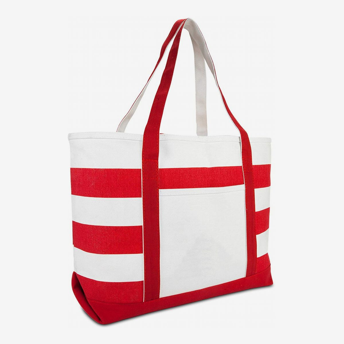 Stylish woman\u2019s all around tote bag 18 x 15 inches in red black and white with inside and outside pockets sturdy home dec fabric
