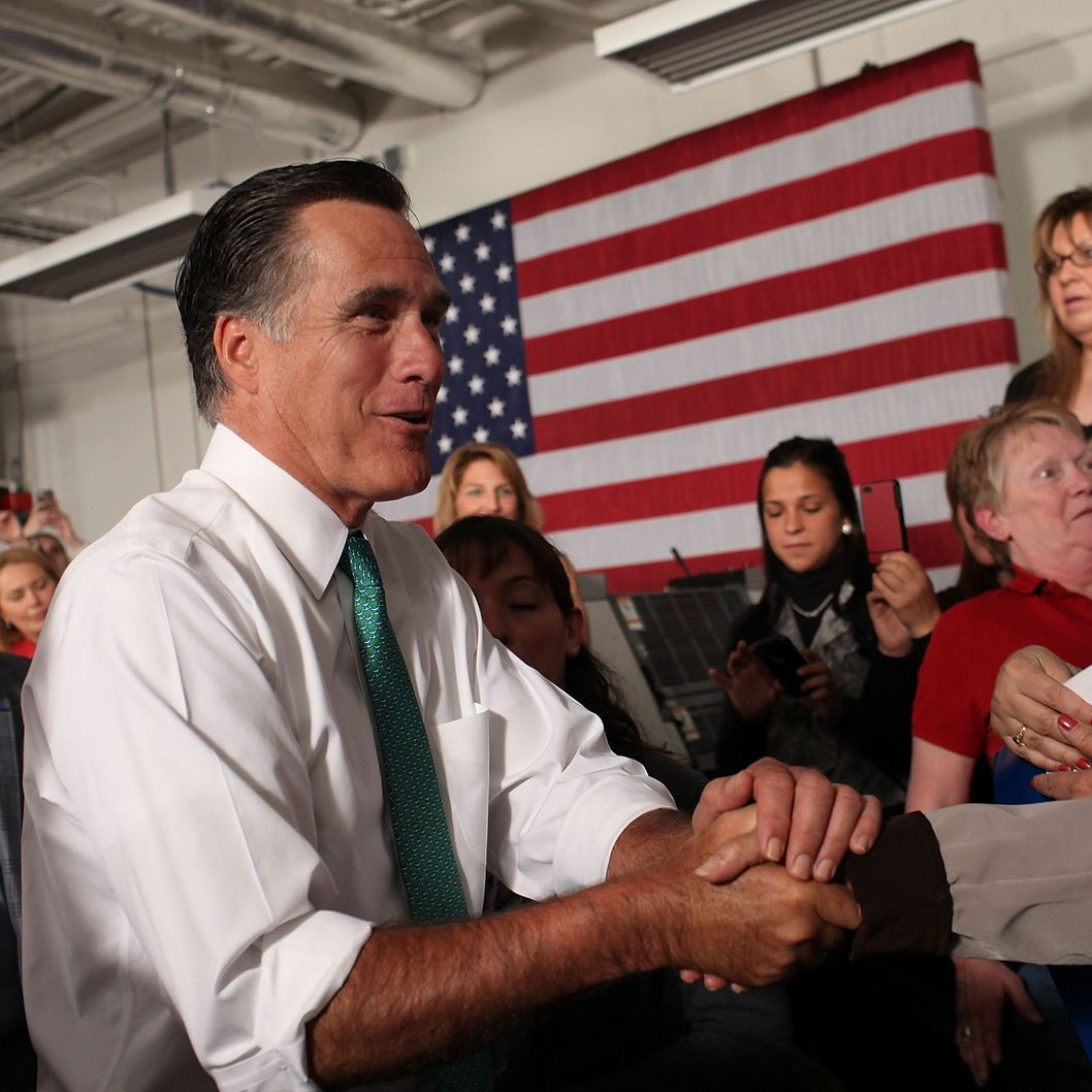 Republican presidential candidate and former Massachusetts Governor Mitt Romney speaks to supporters on April 11, 2012 in Hartford, Connecticut. Romney spoke at Alpha Graphics in Hartford and will later attend a small business town hall meeting in Warwick, Rhode Island. With Rick Santorum, Romney's chief rival for the Republican nomination, out of the race, the former Massachusetts governor is now the presumptive Republican nominee.
