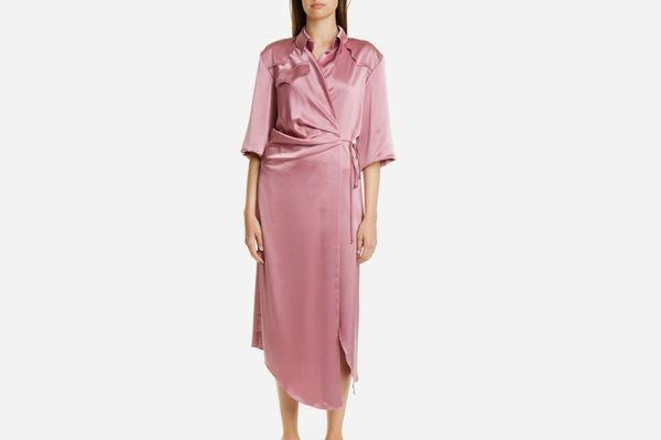 Nanushka Lais Satin Midi Wrap Dress