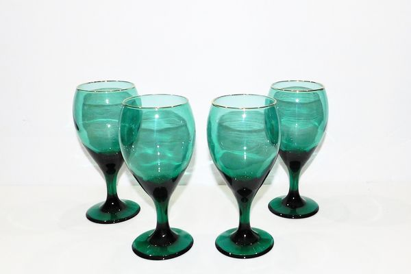 Libbey Aqua-Green Gold-Trimmed Wine Goblets