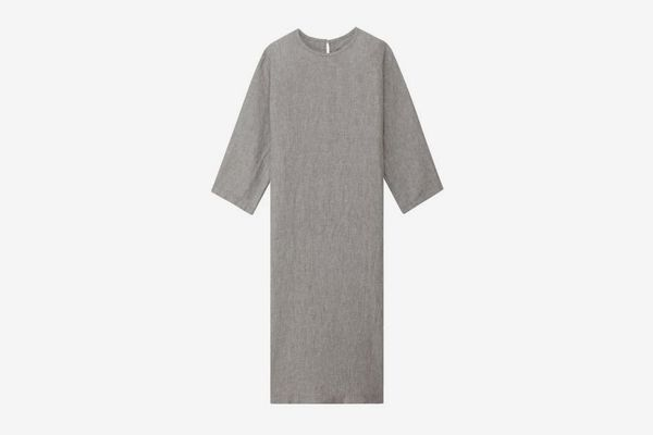 Muji Women French Linen Washed 3/4 Sleeves Dress