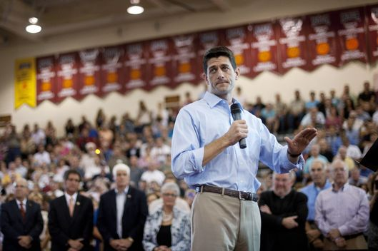 NORTH CANTON, OH - AUGUST 16: Republican vice presidential candidate U.S. Rep. Paul Ryan (R-WI) speaks at a campaign event at Walsh  University on August 16, 2012 in North Canton, Ohio. Ryan is campaigning in the battleground state of Ohio after being named as the vice presidential candidate last week by Republican presidential hopeful Mitt Romney. (Photo by Jeff Swensen/Getty Images)