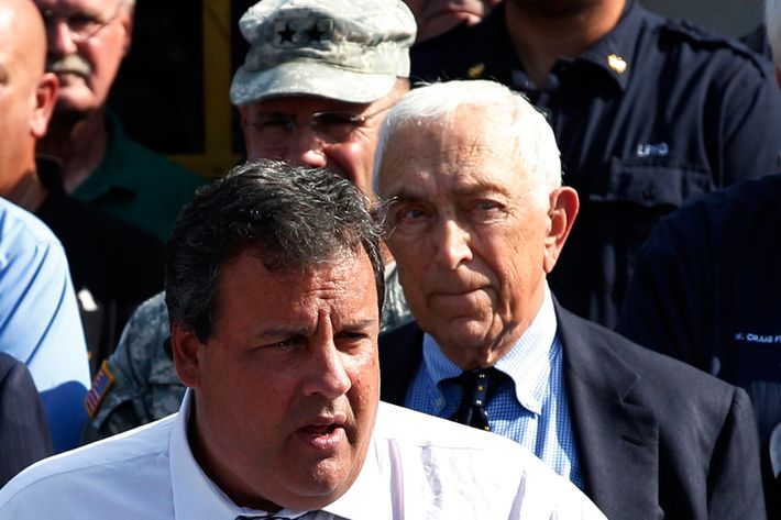 "FILE  In this Wednesday, Aug. 31, 2011 file photograph, Sen. Frank Lautenberg, right, D-NJ, listens as New Jersey Gov. Chris Christie addresses a gathering in Lincoln Park, N.J. An escalating war of words between the two men suggests a genuine and lasting mutual dislike. And it prompted an editorial Friday, April 20, 2012, from the state's largest newspaper, The Star-Ledger, appealing to both men to ""put down their spitballs"" and find a way to work together."