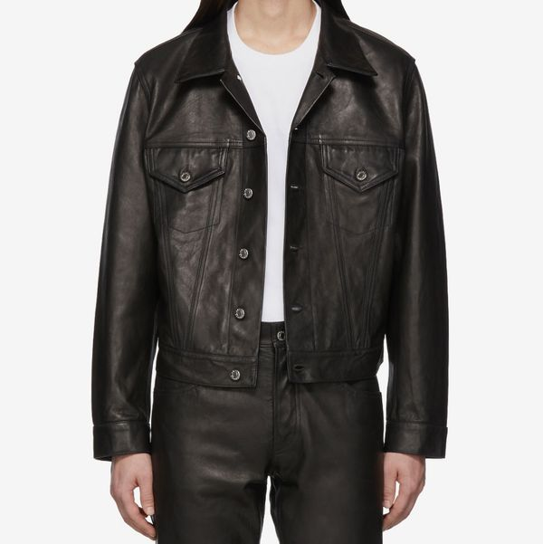 Helmut Lang Black Leather Masc Trucker Jacket